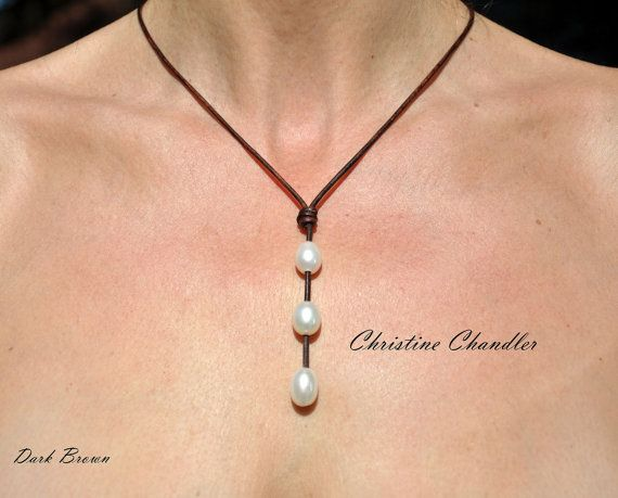 Pearl and Leather Jewelry  3 Rice Pearl Drop by ChristineChandler
