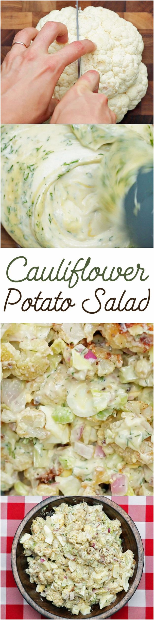 Cauliflower Potato Salad Make vegan: Coconut milk yogurt Replace eggs with avocado and/or garbanzos with namakala salt
