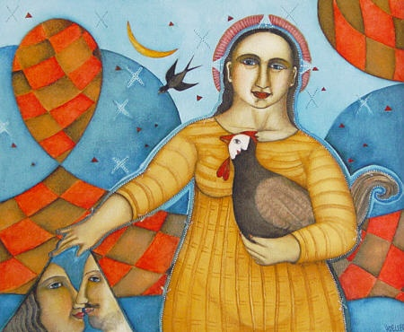 HDC1 HANNETJIE DE CLERCQ/br  Girl with chicken/br  Tempera on board /br50 x 60 cm