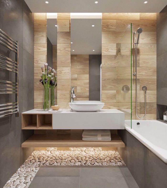 salle de bain moderne grise avec carrelage mural, carrelage mur - Salle De Bain Moderne Grise