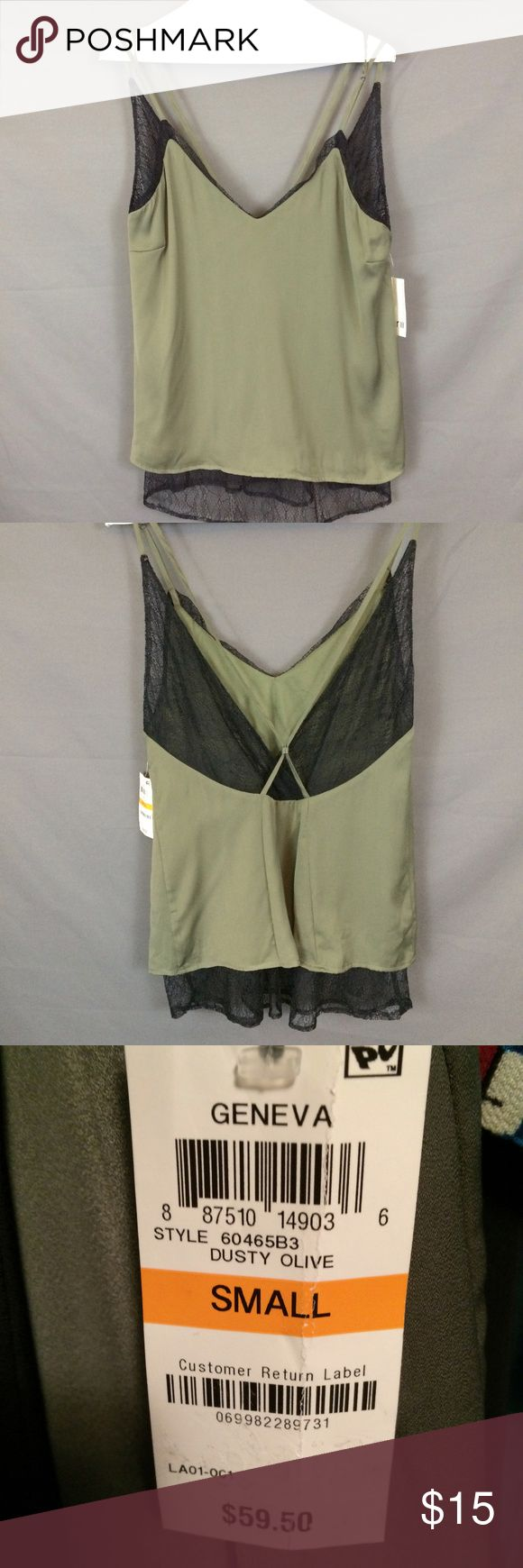 Green Black Cami Top Lace Trim Layered-Look V Back Bar III Green Black Cami Top Lace Trim Layered-Look V Back Adj Straps Size S New  New with Tags  Retail price 59.50       Underarm to underarm is approx 17.5 Bar III Tops Camisoles
