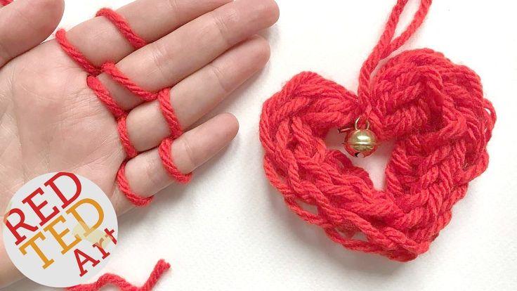 Easy Finger Knitting Ideas : Easy finger knitting how to diy heart ornament