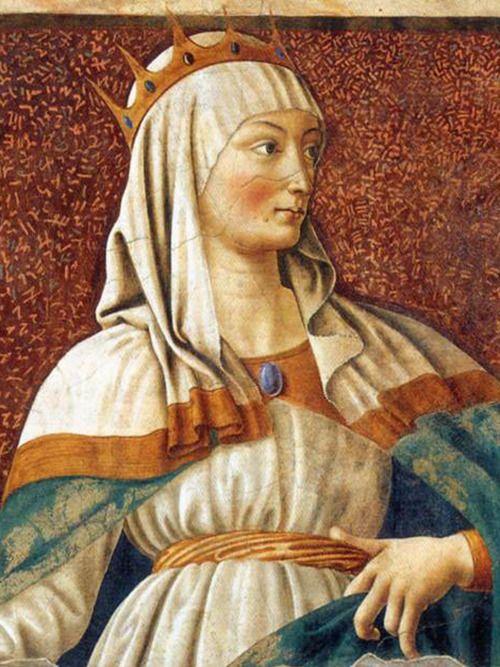 Andrea del Castagno - Queen Esther (detail) c. 1450, fresco - Firenze Galleria degli Uffizi