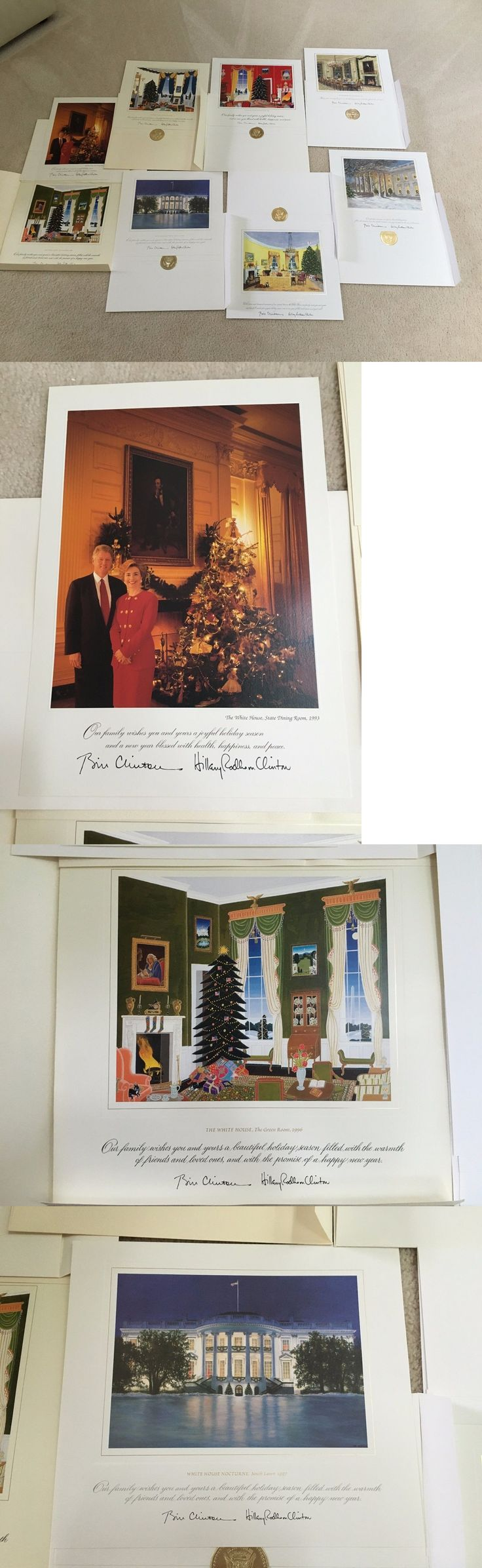 Hillary Clinton: 1993-2000 White House Christmas Large Cards - President Bill And Hillary Clinton -> BUY IT NOW ONLY: $139.95 on eBay!