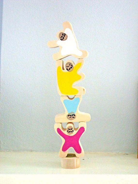 STRONG MEN XL balancing wooden art toy by WatermelonCatCompany