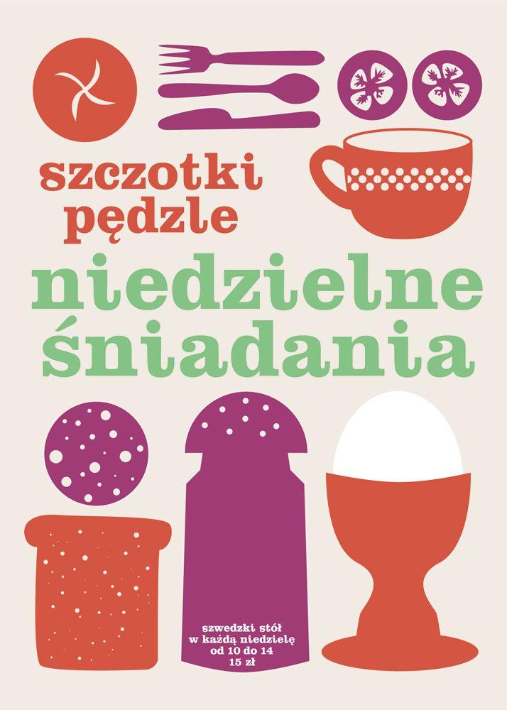 plakat śniadaniowy dla kawiarni Szczotki Pędzle