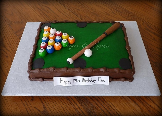 """Pool Table Cake. 9x13"""" iced in buttercream with fondant details, gumball balls, and wood and gumpaste pool cue."""