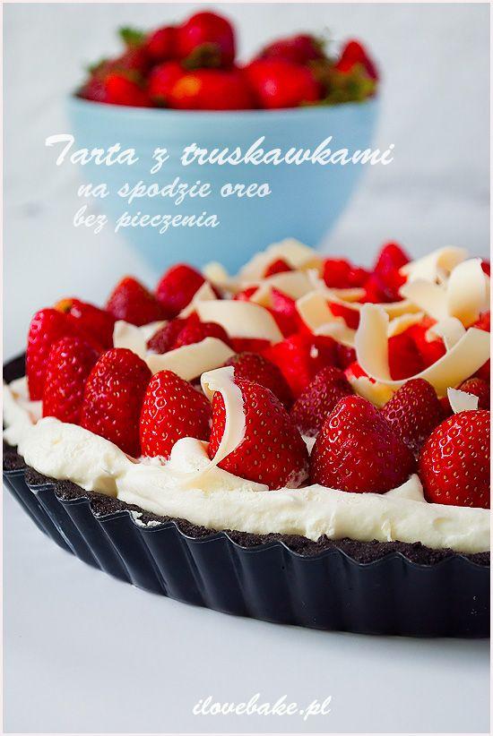 Tarta z truskawkami i bitą śmietaną (bez pieczenia) ilovebake.pl #oreo #strawberry #nobake
