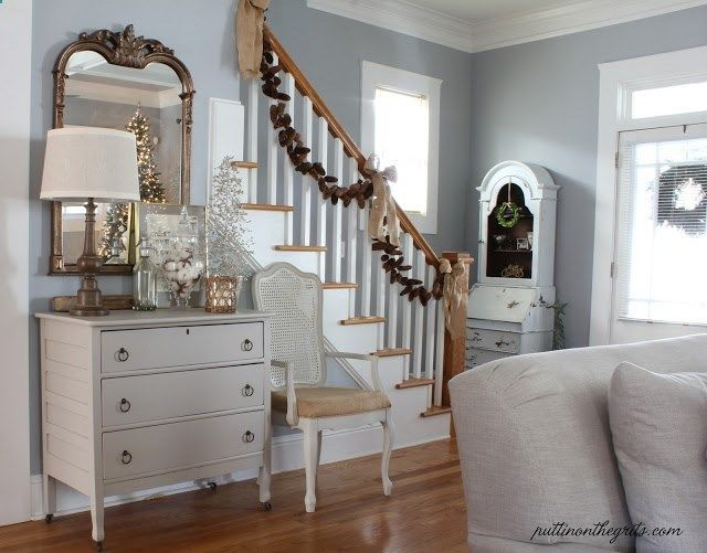 Pale Blue Gray Walls White Trim On The Stairs Newel And