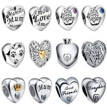 WYBEADS Unique Silver Love Heart Symbol European Charms Beads Fit font b Pandora b font Style