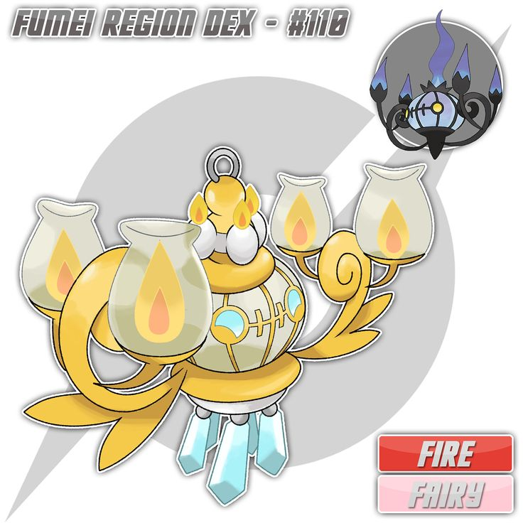 """***NOTE: I have changed the Shiny version of Lampent. I hope you guys like this version better!"""" ⚜️ Fumeian Chandelure, the Luring Pokemon [Fire/Fairy] Fumeian Litwick --Lv 41--> Fumeian Lampent --Dawn Stone--> Fumeian Chandelure ⚜️ Height: 3'7"""" (1.09m) Weight: 143.3 lbs (65.0 kg) ⚜️ Flame Body / Flash Fire // Serene Grace ⚜️ HP - 60 ATK - 50 DEF - 80 SPATK - 140 SPDEF - 100 SPE - 90 ⚜️ """"It delights in being the center of attention. When it makes others happy, its vibrant flames burn…"""
