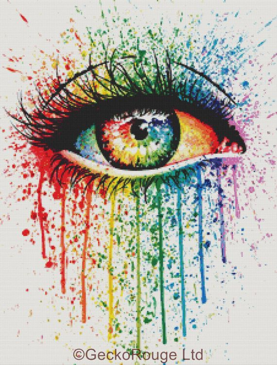 beautiful Modern Cross Stitch Eye rainbow Kit By Carissa Rose  'Eye by GeckoRouge on esty