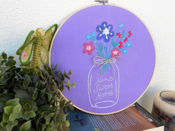 embroidery hoop art modern embroidery wall decor by CottonCraftArt