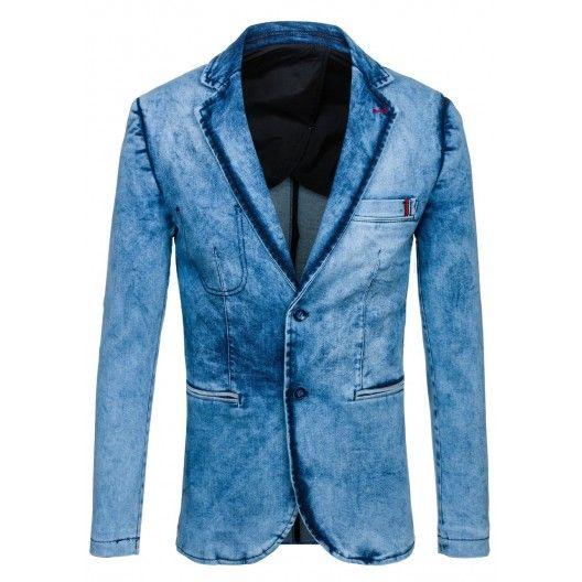 Svetlo modré pánske slim fit sako - fashionday.eu