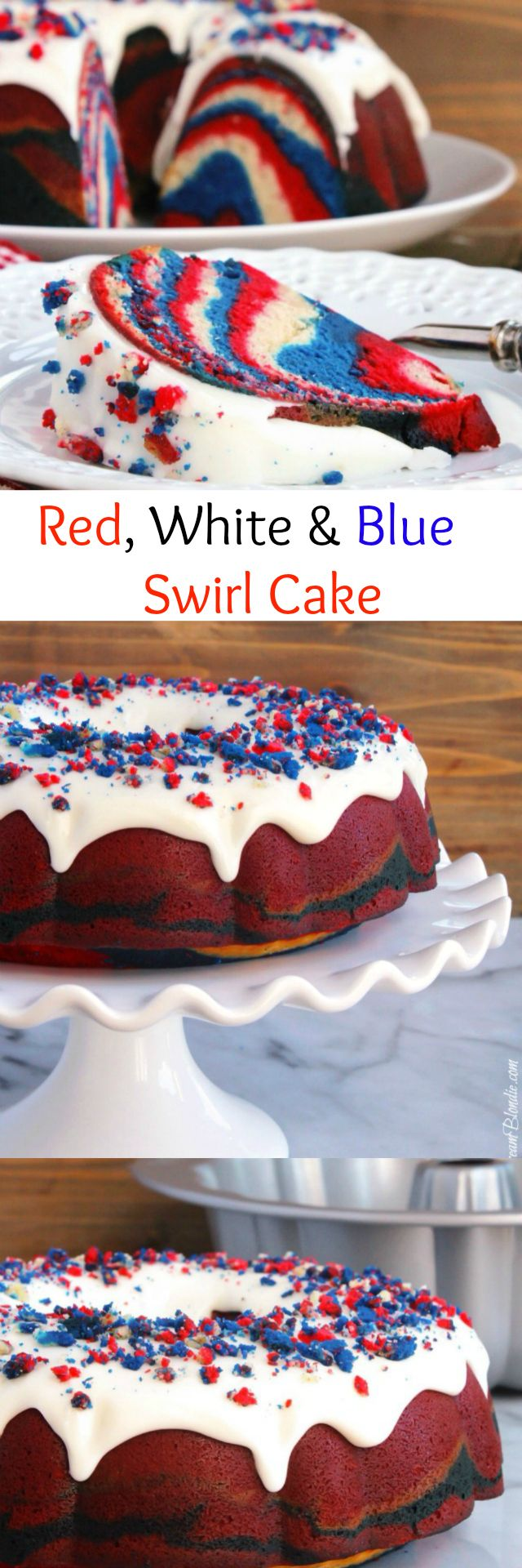 Red, White and Blue Swirl Cake - Take your summer celebrations to a new level with this red, white and blue swirl #cake complete with cake crumb sprinkles! | ButtercreamBondie.com