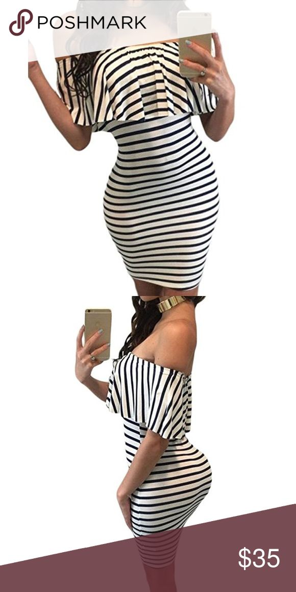 Striped body-con off shoulder dress Polyester and spandex Dresses