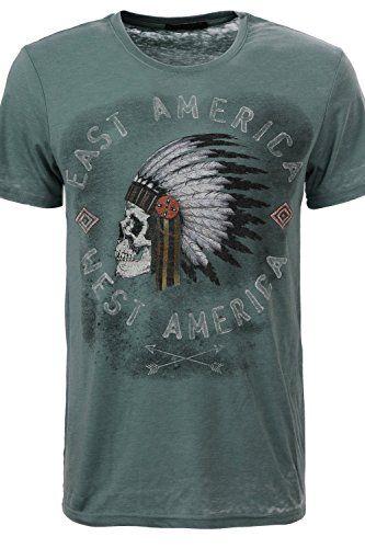 Men's T-shirt With Skull Print   #formen #clothing #fashion #fashiontshirt #skullprint #shortsleevetshirt #greentshirt