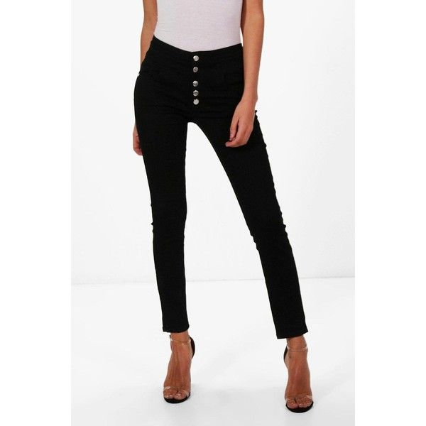 Boohoo Holly 5 Button Ultra High Waist Skinny Jeans ($40) ❤ liked on Polyvore featuring jeans, white ripped jeans, high waisted boyfriend jeans, ripped skinny jeans, high waisted ripped jeans and slim straight jeans