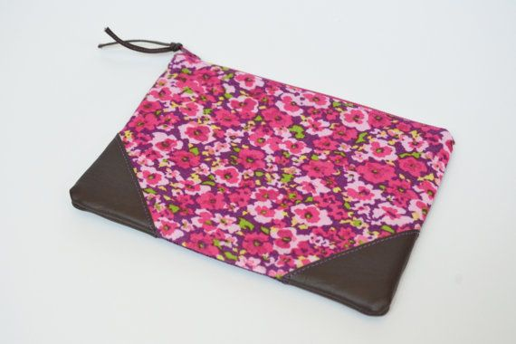 Pink Floral Pouch with Leather Trim Accents