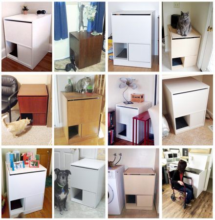 Cat Litter Box Furniture that stops cat litter box tracking. Our litter box cabinet is a hidden litter box that is easy to clean standing up. USA quality built.