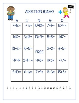 Addition BINGO Adding 1-20 30 Different Boards from TheWisestOwl on TeachersNotebook.com - - Each BINGO board has a unique combination of addition problem with sums up to 20. Each board also has a 1-20 number line on the bottom. See the sample!! You'll love it!
