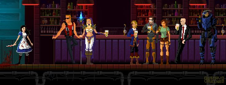 Interesting characters in the bar. Red and purple lighting bar.