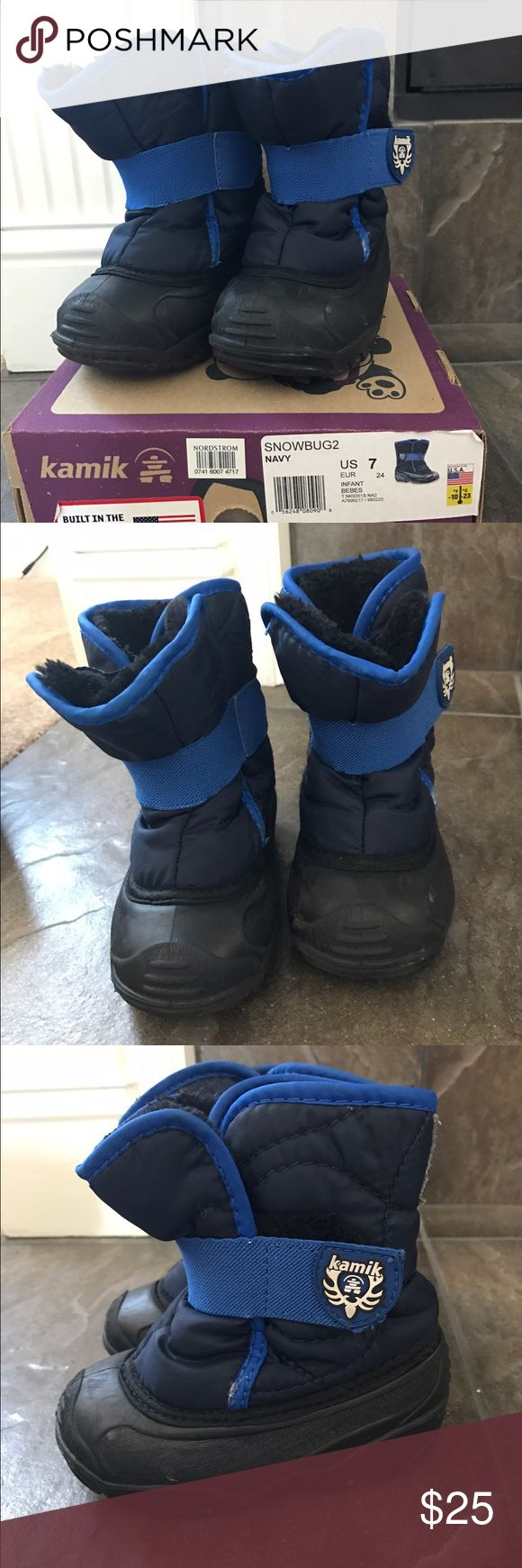 Kamik toddler boys snow boots- size 7 Gently used kamik snow boots- size 7. Great condition and well cared for. Only worn by my son!  These are awesome for cold weather and very easy to get on and off toddler feet!  Love these- purchased at Nordstrom. Kamik Shoes Rain & Snow Boots