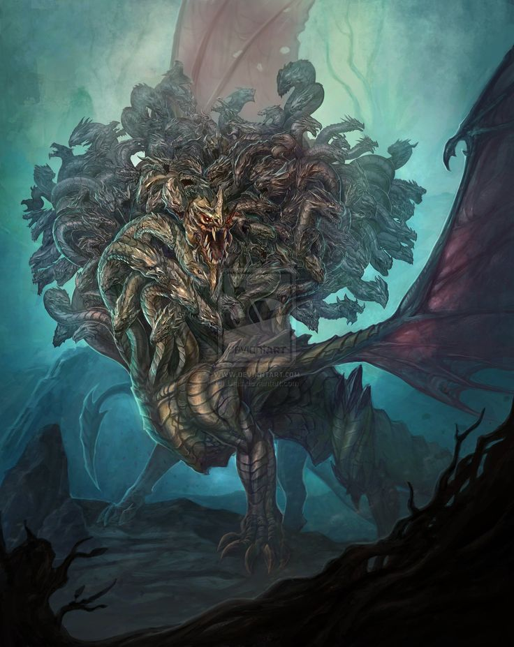 Ladon- Greek Myth:a Hundred Headed Dragon That Guarded The