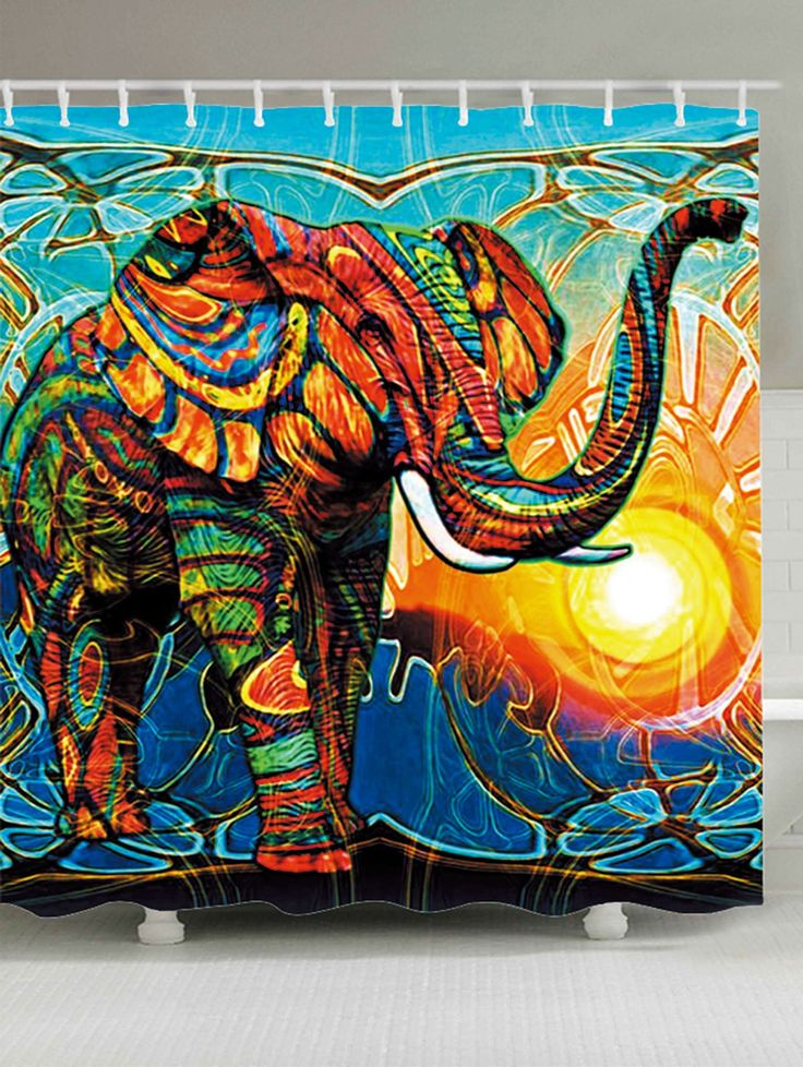 Colorful Elephant Sunlight Waterproof Shower Curtain - COLORFUL W71 INCH * L71 INCH