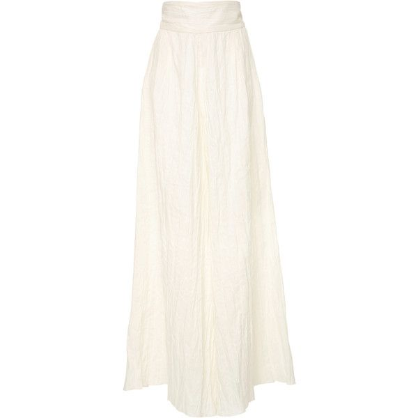 Johanna Ortiz M'O Exclusive Long Live The King Linen Pants (9.388.760 IDR) ❤ liked on Polyvore featuring pants, white, white long pants, linen trousers, crinkle pants, long length pants and long pants