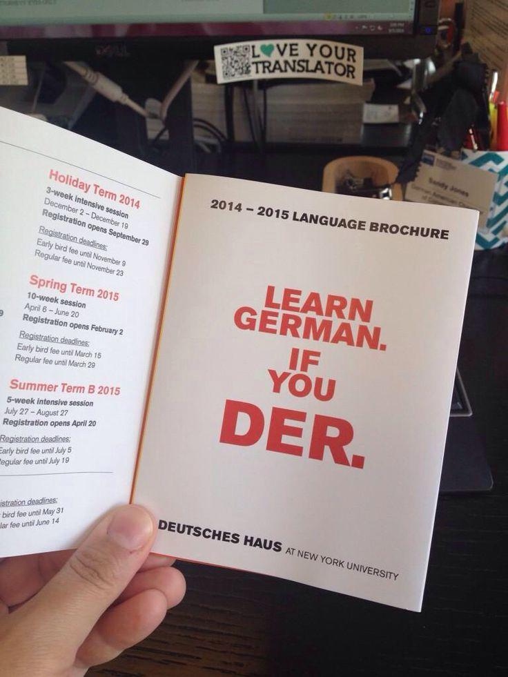 """Learn German...if you """"der""""! NYU Deutscheshaus"""