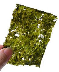 Dried sea weed sheets. Better than potato chips & guilt-free. I'm addicted. Love em!