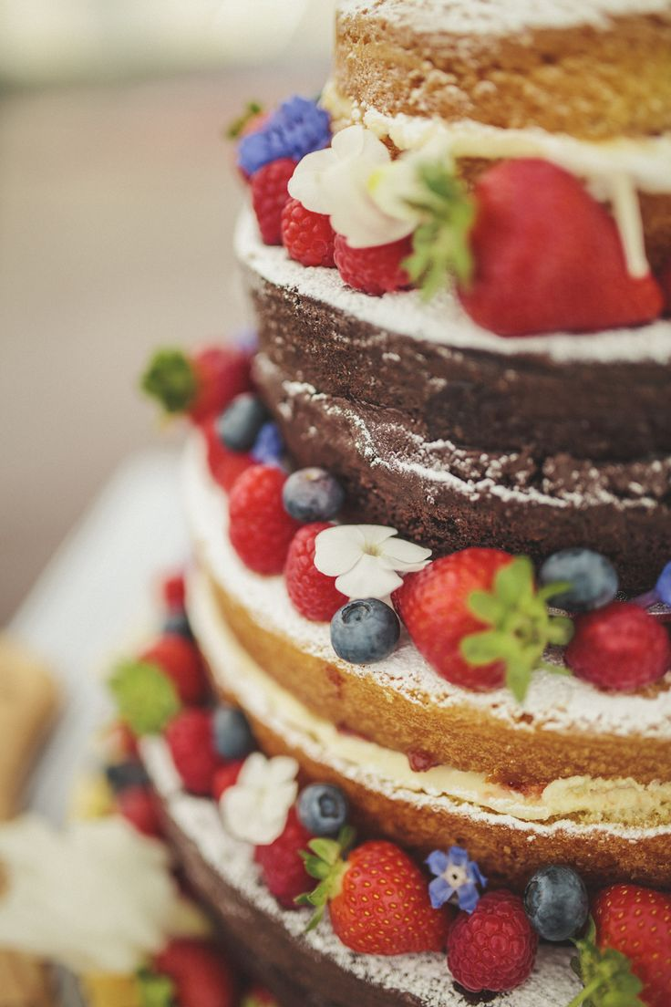 Homemade chocolate & victoria sponge naked wedding cake decorated with strawberries & blueberries -   Image by Matt Ethan Photography - Bride wears a Sincerity Bridal gown at a rustic outdoor wedding in Norfolk with nautical colour scheme.