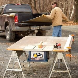 How to Build a Portable Table Saw Table    http://www.familyhandyman.com/DIY-Projects/Woodworking/Woodworking-Tools/how-to-build-a-portable-table-saw-table