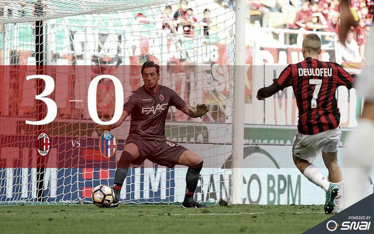 #MilanBologna #final 3-0 Schedule: 7. DEULOFEU (MILAN) 10. HONDA (MILAN) 9. LAPADULA (MILAN)