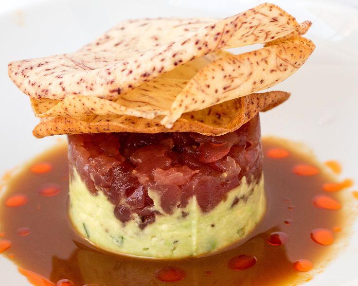Tuna Tartare served with Avacado, Soy Honey Emulsion, and Taro Chips.