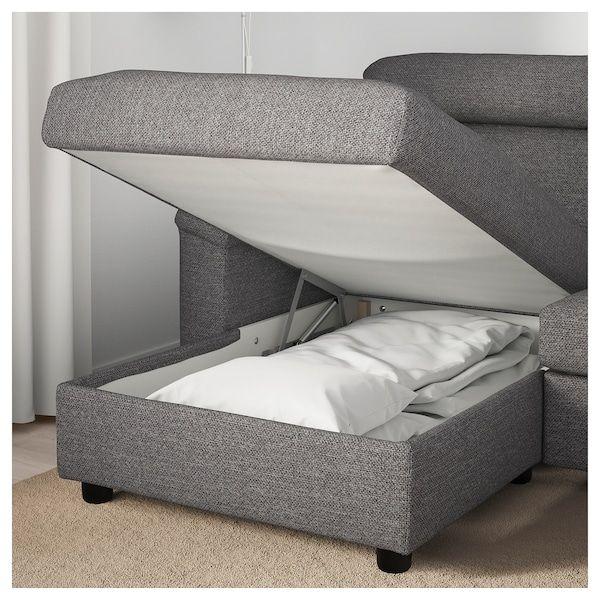 Lidhult Sleeper Sofa With Chaise Lejde Gray Black Ikea Ikea Ikea Sofa Sofa Back Cushions