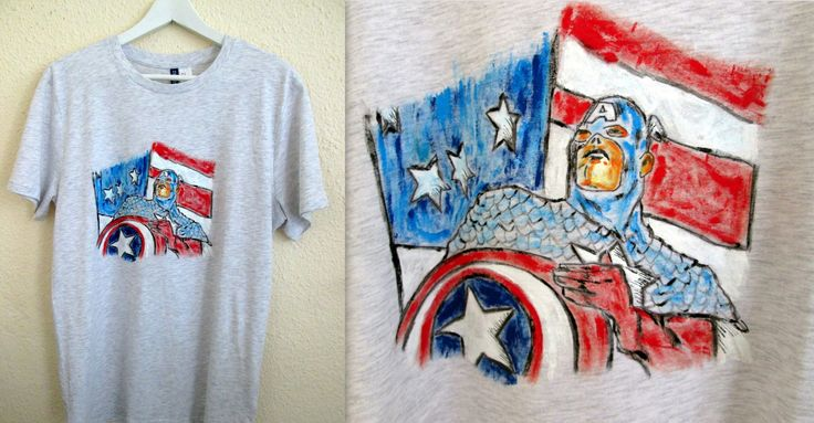 Captain America painted in t-shirt