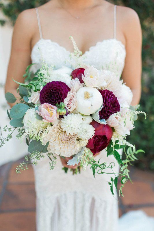 Burgundy + white wedding bouquet with dahlias, peonies and greenery {Rose Avenue Floral}