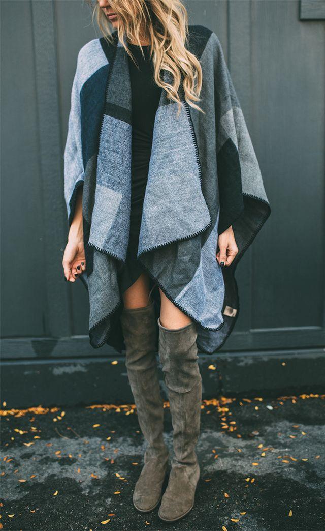 Blue grey poncho