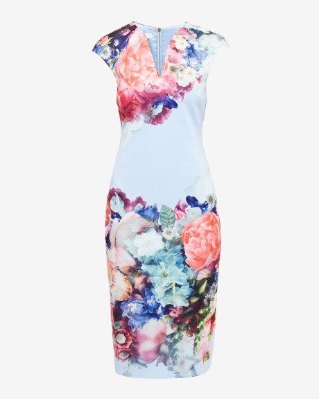 Focus Bouquet bodycon dress - Pale Blue | Dresses | Ted Baker UK