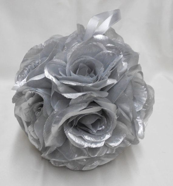 Wedding Reception Silver Gray Kissing Ball Pomander Pew Decorations Flower Girl Basket Bouquet Your Colors