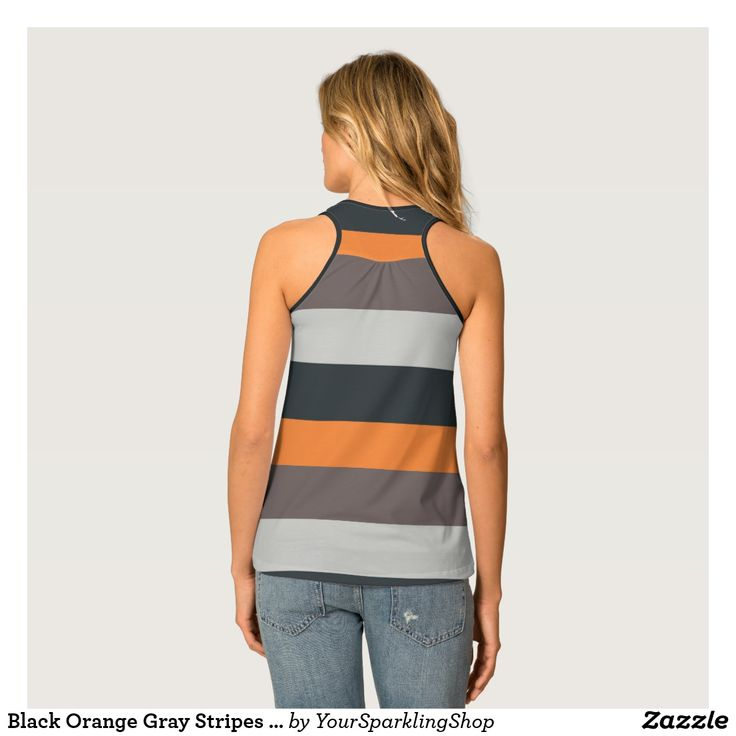Black Orange Gray Stripes Pattern  #stripes #striped #top #racerback