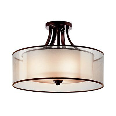 Bedroom Kichler Lighting 42387 3 Light Lacey Large Semi