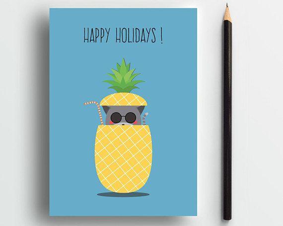 Happy Holidays card, cat card, cute cat card, pineapple card, sweet card, funny cat card, summer card, pets card, cute animal card, cat lady