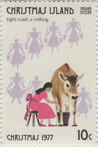 ◙ Christmas Island, Postage Stamp, The Twelve Days of Christmas, Maids a-Milking. ◙