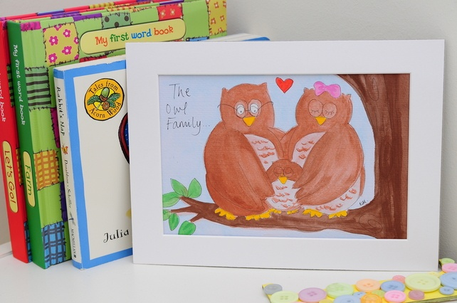 Owl Family Original Watercolour Illustration - Folksy