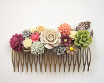 Wedding Hair Accessories Bridal Hair Comb Ivory Coral Pink Wine Red Maroon Olive Moss Green Sage Gray Brown Cream Floral Headpiece Rustic WR