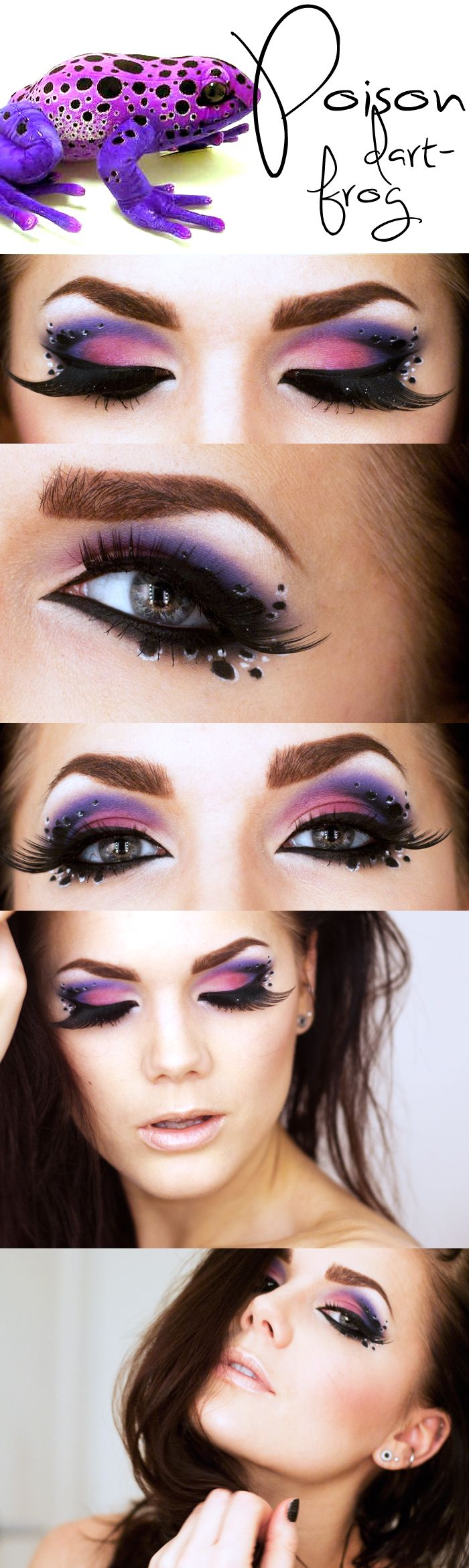 Gorgeous shades of purple eye shadow with crystal accents inspired by the Poison Dart Frog by Linda Hallberg.