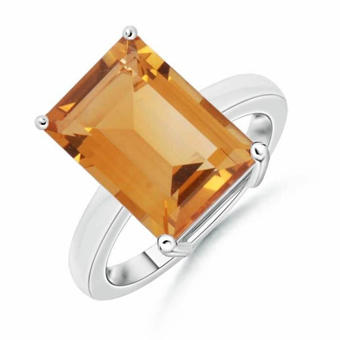 Angara East West Emerald-Cut Citrine Solitaire Ring in Platinum 2JeDB